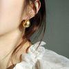 볼륨 원터치 무광 볼 링 귀걸이 (2color)