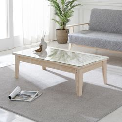 BZ 전통창호 색상한지 원목 소파 테이블 서랍형(유리포함)
