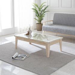 BZ 전통창호 한지 원목 소파 테이블 서랍형(유리포함)