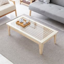 BZ 전통창호 원목 소파 테이블(유리포함)