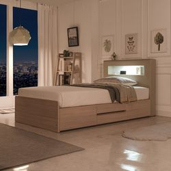 BZ 맘모스 레인보우 침대 헤드형(LED램프 콘센트 포함)