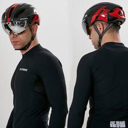 에어로 고글 자전거헬멧+미러고글블랙레드(유광)