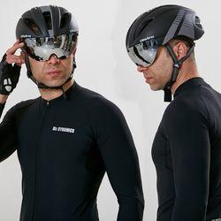 에어로 고글 자전거헬멧+미러고글블랙그레이(무광)