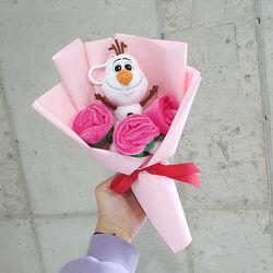 장미 올라프 인형꽃다발 3컬러