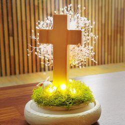 LED 원목 십자가 - 프리저브드 드라이플라워 무드등