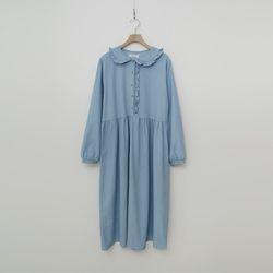 Frill Denim Long Dress