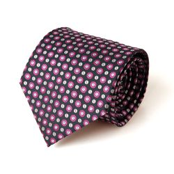 네이비 핑크 도트 남자 넥타이