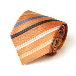 오렌지 배색 스트라이프 남자 넥타이