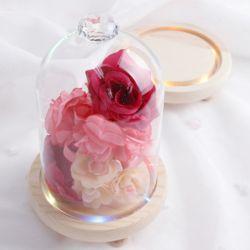 웨딩 다이아몬드 유리돔 LED 트레이세트 부케글라스돔