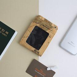 포포팬시 빈티지 세계지도 목걸이 카드 지갑