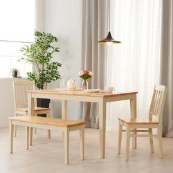 아르메 버니 고무나무 원목 4인 식탁세트(의자2 벤치1)