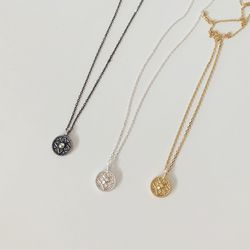 [92.5 silver] Gothic coin necklace (3 colors)