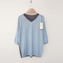 Laine Wool V-Neck Sweater - 반팔