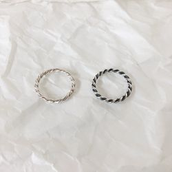 [92.5 silver] Bold twist ring (2 colors)