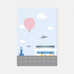 열기구여행 공항 엽서