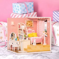 [adico]DIY 미니어처 코지 하우스 - 핑크 침실