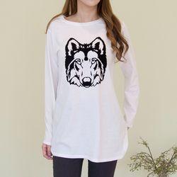 A0747 코튼 늑대 롱티셔츠