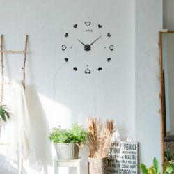 DIY 무소음 러브하트 벽시계(블랙)