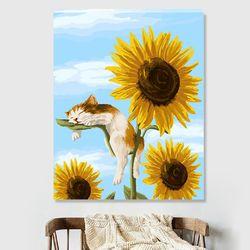 DIY 명화그리기 [ 해바라기와 고양이 ] - 40cmX50cm