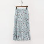 Vintage Flower Pleated Long Skirt