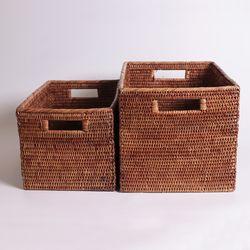 라탄 손잡이 오픈 바구니(2size)
