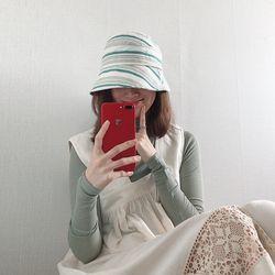 스트라이프 코튼 린넨 벙거지 모자 (3color)