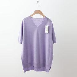 Laine Wool V-Neck Unbal Sweater - 반팔