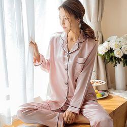 스타잇 실크 파자마 잠옷세트(핑크)