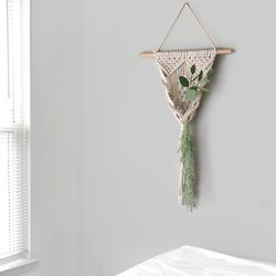 트위스트 행잉 마크라메+둥근유리병+장식용청량한그린조화