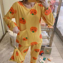 스타잇 포켓오렌지 파자마 잠옷 세트(파우치 포함)