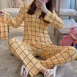 스타잇 옐로우체크 파자마 잠옷 세트(파우치 포함)