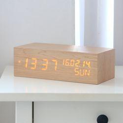 플라이토 우드 솔리드 LED 인테리어 시계+USB아답터