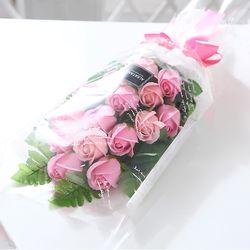 장미 15송이 꽃다발(핑크) 비누꽃 화이트데이 선물