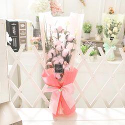 코튼플라워(핑크) 비누꽃 화이트데이 선물 꽃다발