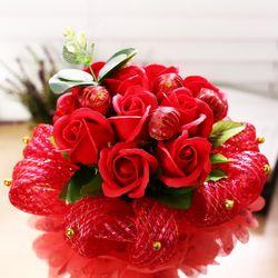 퐁퐁 비누꽃 사탕부케(레드) 화이트데이 꽃다발 선물