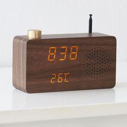 플라이토 우드 LED 클래식 FM 라디오시계+USB아답터