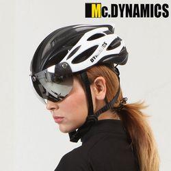 맥다이나믹스 미러쉴드 자전거헬멧+미러고글 WHITE