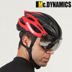 맥다이나믹스 미러쉴드 자전거헬멧+미러고글 RED