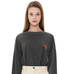 (CTC1) 피그먼트 로고 긴팔 티셔츠 차콜