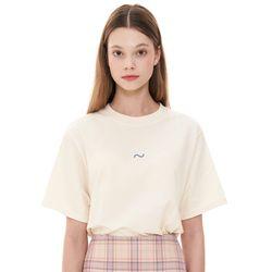 (CTC1) 웨이브 아이콘 자수 티셔츠 베이지