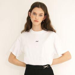 (CTC1) 웨이브 아이콘 자수 티셔츠 화이트