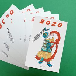 2020 십이지 쥐 민화 일러스트 엽서