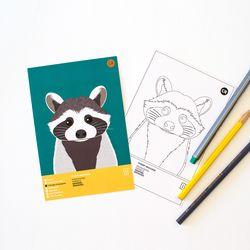 피그미라쿤 멸종위기동물 컬러링 엽서 2in1