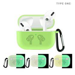 타입원 에어팟 프로 형광 실리콘 케이스 카라비너 열쇠고리 포함