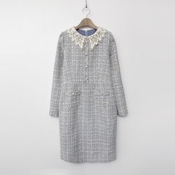 Tweed Lace Collar Dress