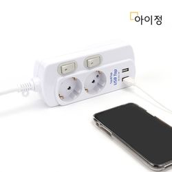 아이정 피코탭 USB 2구 개별 멀티탭 3M