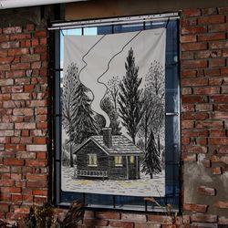 집 일러스트 패브릭 포스터.가리개커튼 (태피스트리)