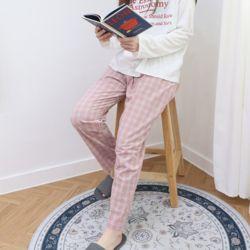 자체제작 남여 공용 잠옷 바지 잔체크 핑크 M 커플 파