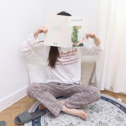 자체제작 남여 공용 잠옷 바지 빅체크 코코아 M 커플