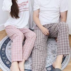 자체제작 남여 공용 잠옷 바지 세트 잔체크 ML 커플